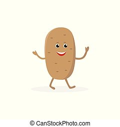 Potato cartoon character isolated on white background. Healthy food funny mascot vector illustration in flat design.