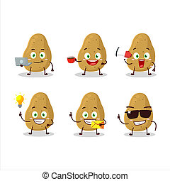 Potato cartoon character with various types of business emoticons