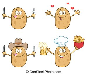 Potato Character 4. Collection Set - Potato Cartoon Mascot...