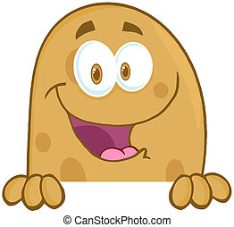 Potato Character Over A Sign