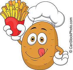 Potato Chef Holding Up A French Fri - Vector illustration of...