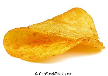 potato chip - paprika flavored potato chip isolated on white...