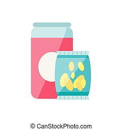 potato chip with canned drink isolated icon vector illustration design