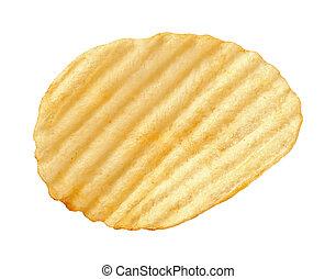 Potato Chip with Ridges isolated - A single wavy potato chip...