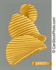 Potato chips. 3d realistic vector