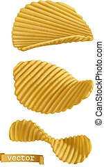 Potato chips. 3d realistic vector icon set