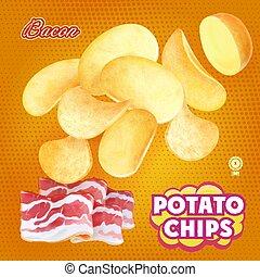 Potato chips advertising bacon flavor. Design packaging...