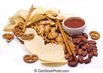 Potato chips and salty sancks