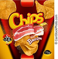 Potato chips. Bacon flavor. Design packaging, 3d vector template