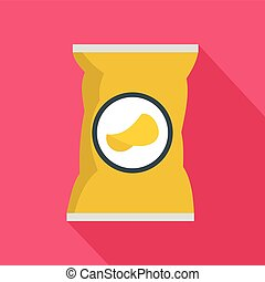 Potato chips bag icon, flat style