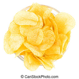 Potato chips bowl isolated on white background, with clipping path, top view