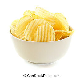 Potato chips - Bowl of potato chips isolated on white...