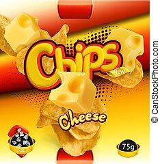 Potato chips. Cheese flavor. Design packaging, 3d vector...