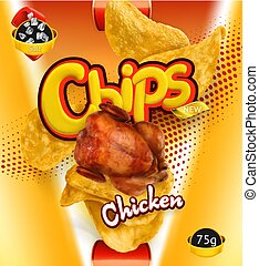 Potato chips. Chicken flavor. Design packaging, 3d vector template