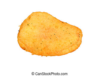 Potato chips close-up isolated white background. Full depth of field