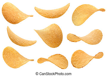 Potato chips collection on white