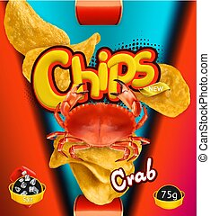 Potato chips. Crab flavor. Design packaging, 3d vector template