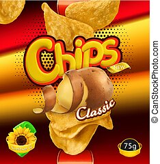 Potato chips. Design packaging, 3d vector template