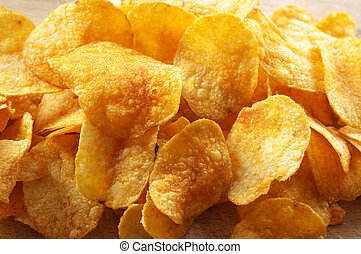 Potato chips - Heap of spicy potato chips.