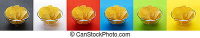 Potato chips in bowl isolated on different backgrounds, collection