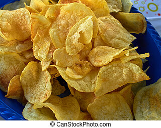 Potato chips in closeup