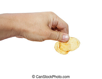 potato chips in hand on white background