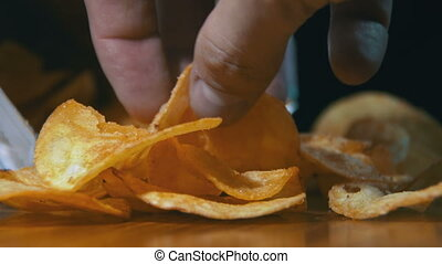Potato Chips In Package Rotating