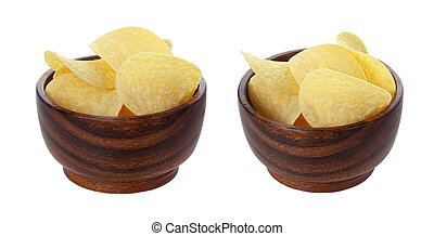 Potato chips in wooden bowl isolated on white background