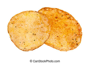 potato chips isolated on a white background