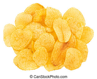 Potato chips isolated on white background. Top view