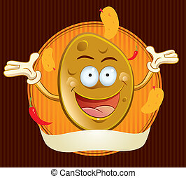 Potato Chips Mascot - cartoon illustration of happy potato...