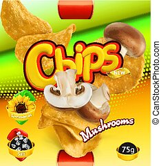 Potato chips. Mushrooms flavor. Design packaging, 3d vector template