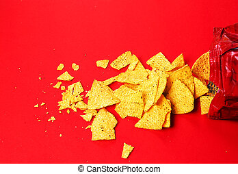 Potato chips on a red background