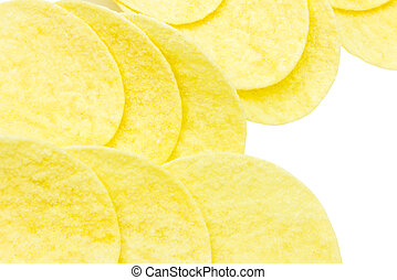 Potato chips on a white background