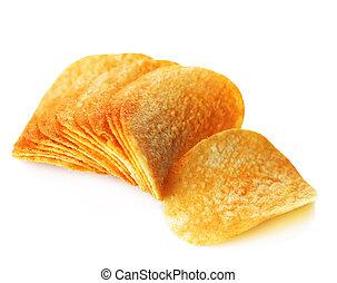 Potato Chips Over White
