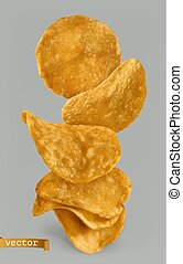 Potato chips, package design. 3d realistic vector