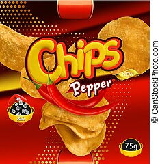Potato chips. Pepper flavor. Design packaging, 3d vector template