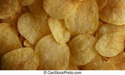 Potato Chips Rotating - Bowl of potato chips turning slowly