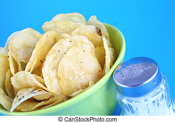 potato chips - Pile of potato chips-yellow and green