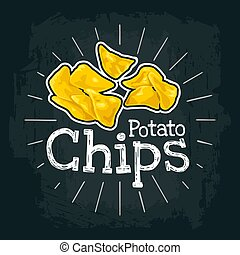 Potato Chips. Vector flat illustration with engraving rays, lettering