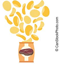 Potato chips with taste of fried steak. Packing chips and flying potatoes. On a white background. Vector illustration