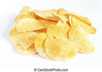 Potato Crisps - Salted potato crisps with white background