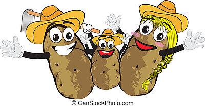 potato family cartoons isolated