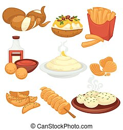 Potato food dishes snacks and cooked products vector flat...