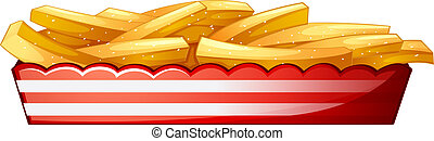 Potato fries - Illustration of the potato fries on a white...