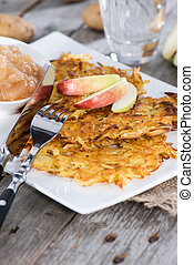 Potato Fritters with Applesauce - Fresh Potato Fritters with...