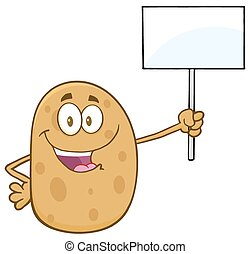 Potato Holding Up A Blank Sign