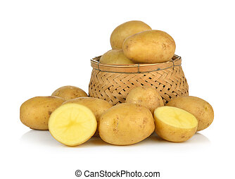 potato in the basket isolated on white background