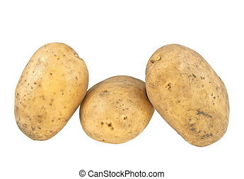 Potato isolated on white background, close up