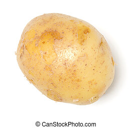 potato isolated on white background. Top view, flat lay.